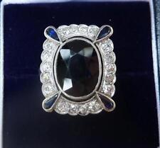 Wonderful all platinum art deco 7.50ct sapphire and diamond cluster ring