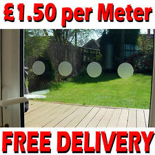 6 x Meters FROSTED GLASS EFFECT SAFETY WINDOW MANIFESTATIONS CIRCLES 50MM DOTS