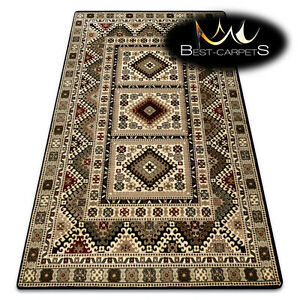 """TRADITIONAL Thick & Soft Classic RUGS """"ROYAL"""" Frame vintage aztec black / cream"""