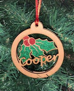 Personalised Xmas Designs & Glitter Christmas Bauble with Ribbon Tree Decoration