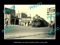 OLD POSTCARD SIZE PHOTO DEKALB ILLINOIS, THE FOURTH ST RAILROAD CROSSING c1940