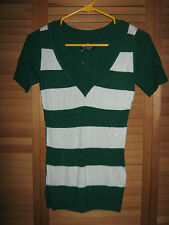 NEW-JUNIORS WET SEAL PULLOVER TOP-DK. GREEN/WHITE-FREE SHIPPING-SIZE S