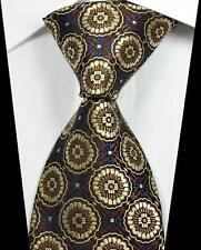 New Classic Patterns Brown Blue JACQUARD WOVEN 100% Silk Men's Tie Necktie