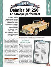 VOITURE DAIMLER SP 250 FICHE TECHNIQUE AUTOMOBILE 1959 COLLECTION CAR