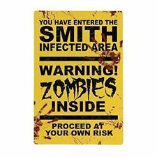 Halloween Zombie Metal Sign Personalised - Horror Warning Sign - Party sign - La