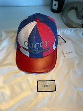 Gucci Print Sylvie Baseball Cap Hat size M White/Red/Blue AUTHENTIC