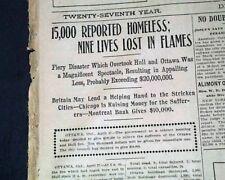 HULL-OTTAWA Quebec Canada Conflagration FIRE Disaster 1900 Original Newspaper