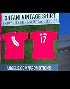Shohei Ohtani #17 LA Angels Vintage T-Shirt Adult X-Large (XL) 7/31/21 SGA New!