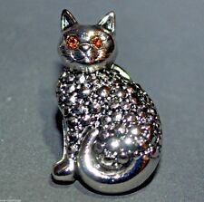 Vintage 18K White Gold Plated Pave Kitty Cat Brooch Pin Amber Crystal Eyes