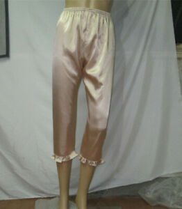 Women Plus Size Pajama Trousers Half Slips Satin Ruffled Bloomers Home Pants