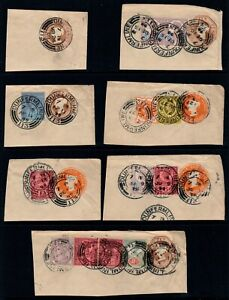 """1898-99 QV """"Jubilee"""" Stamps Inc Postal Stationary On Piece x 7"""