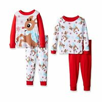 Rudolph Baby Boys' 4-piece Cotton Pajama Set Holiday Cheer Red Standard