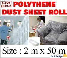 Clear Polythene Dust Sheet Roll 2M x 50M Decorating Plastic building visqueen