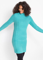 Bonprix Sea Green Teal Cable Knitted Jumper Dress Size 10 / 12 NEW