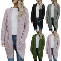 Womens Open Front Long Sleeve Chunky Cable Knit Long Cardigans Sweater Pockets