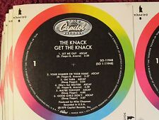 THE KNACK, RECORD LABEL BLANKS, uncut,unused, one order = 10 sheets  LP SIZE