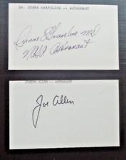 (2) NASA Astronaut Signatures Autos on 3x5 Cards Duane Graveline + Joseph Allen