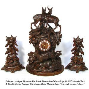 """Rare Antique Black Forest 18"""" Mantel Clock & Candlestick or Garniture Set, Hunt"""