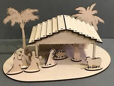 Y182 Xmas Jesus Christmas Nativity Scene Wooden Sign, MDF, Ready To Decorate