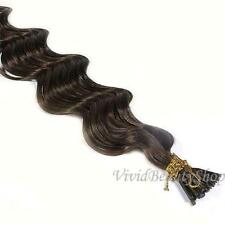 100 Deep Wave Curly I Tip Micro Link Remy Human Hair Extensions Medium Brown #4