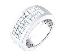 18k Solid White Gold Princess Cut Diamond Men's Ring 1.80 Carat
