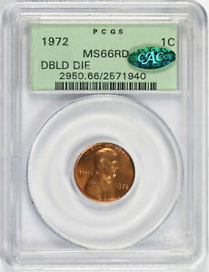 1972 Doubled Die 1c Lincoln Cent PCGS CAC MS66RD OGH
