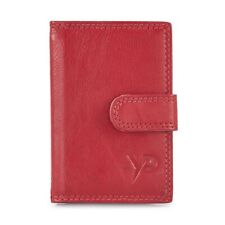 Leather Credit Card Holder - RFID Protection - Gift Boxed - Takes 16 Cards - Red