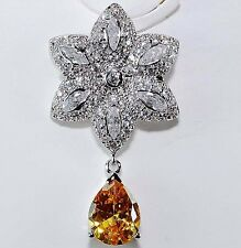 3CT Yellow Sapphire & Topaz 925 Solid Sterling Silver Pendant Jewelry, T6-1