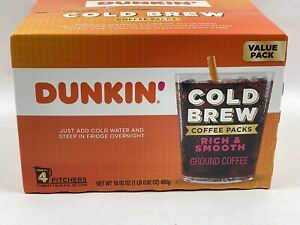 Dunkin' Cold Brew Coffee Packs Smooth & Rich Ground Coffee (4 pk.)