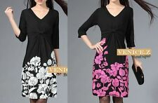 Knee Length Polyester Floral Dresses Work
