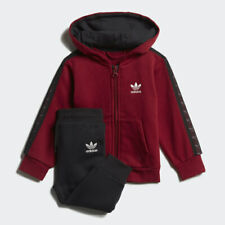 adidas Originals infant burgundy & black tape hooded tracksuit. Various sizes!