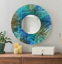 Large Round Painted Blue Metal Wall Mirror Home Decor Art Accent by Jon Allen