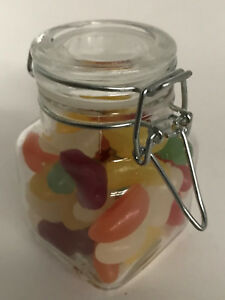 100ML  SQUARE GLASS CLIP TOP JAM JAR -  WEDDINGS, HONEY, +++ QUANTITY 3 - 60