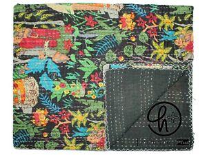 Cotton Kantha Quilt Black Bedspread Indian Ralli Handmade Gudari Queen Blanket