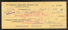 9/1/1970 RON SHANKLIN PITTSBURGH STEELERS PAYROLL CHECK DAN ROONEY SIGNED JSA