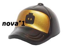 LEGO BASEBALL PEAK CAP HAT BLACK AND GOLD FOR MINIFIGURE BRAND NEW