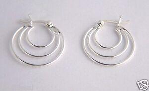 925 Sterling Silver Triple Hoop Round CREOLE EARRINGS Ladies Girls B'Day GIFT BN