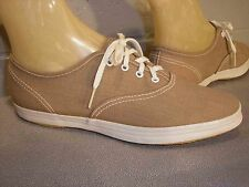 6.5 Nos Vtg 1970s La Crosse Tan Chambray Sneaker Tennis Shoe Rockabilly Flat 70s