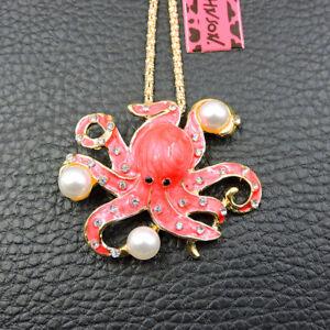 Betsey Johnson Red Enamel Crystal Cute Pearl Octopus Pendant Necklace/Brooch
