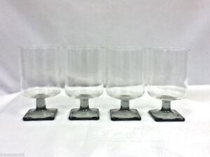 Wine or cocktail vintage glasses set of 4 square footed stemmed glassware JH2