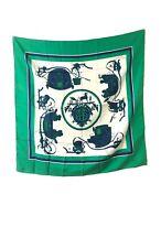 Hermes Foulard Seta Silk 100% Green Hugo Grygcar Carré Vintage Box Usato 1946