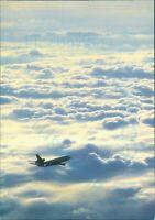 Lufthansa In flight aircraft above clouds