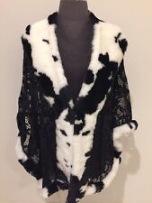 Cow Print Lace Faux Fur Cape Jacket Shawl Cloak Pop Art Avant Garde Glam Rock