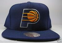 Indiana Pacers Mitchell & Ness Vintage Blue Solid Wool HWC Snapback Hat Cap NBA