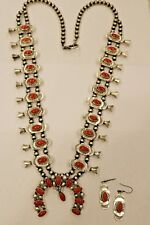 Deep Red Coral Squash Blossom Necklace Sterling W/ Earrings by Ella Peters
