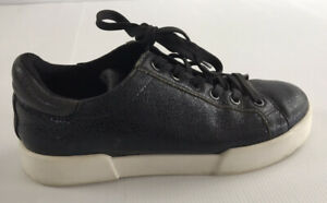 Kenneth Cole Black Leather Low Top  Sneakers Casual Shoes Size US 6 EU 36 UK 4