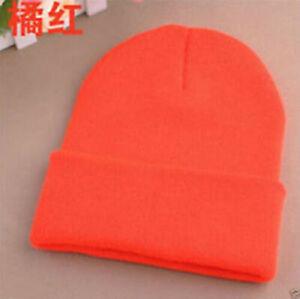 Orange Beanie Knit Ski Cap Hip-Hop Blank Color Winter Warm Unisex Wool Hat