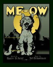 MEOW Cat 8x10 Vintage sheet music animal Art print