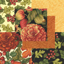 "Harvest Homecoming 30 4"" fabric squares quilting cotton quilt mums leaves"