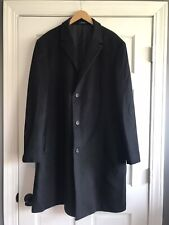 Chaps Black Overcoat Winter Jacket Wool Blend Mens 48L